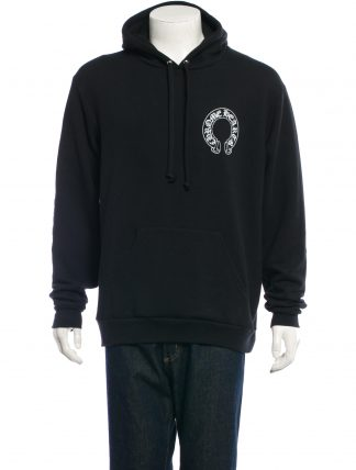 CHROME HEARTS Men's LEATHER APPLIED HOODED SWEATSHIRT