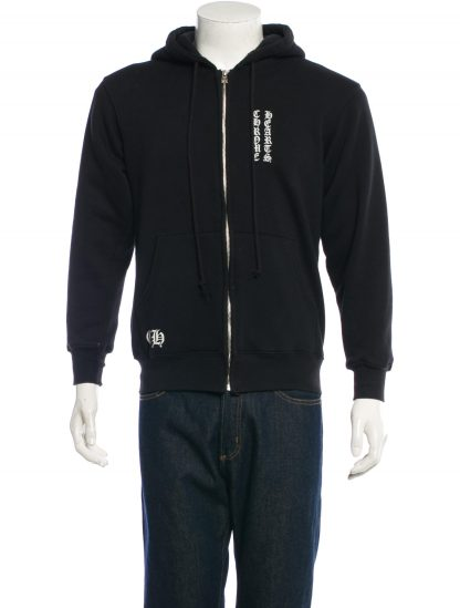 CHROME HEARTS Men's BLACK ZIP-UP HOODIE