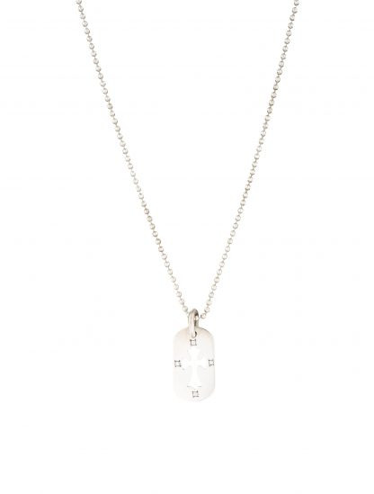 CHROME HEARTS Men's DIAMOND CROSS TAG NECKLACE