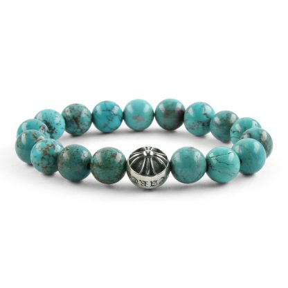 CHROME HEARTS CH CROSSBALL Blue TURQUOISE BEAD BRACELET